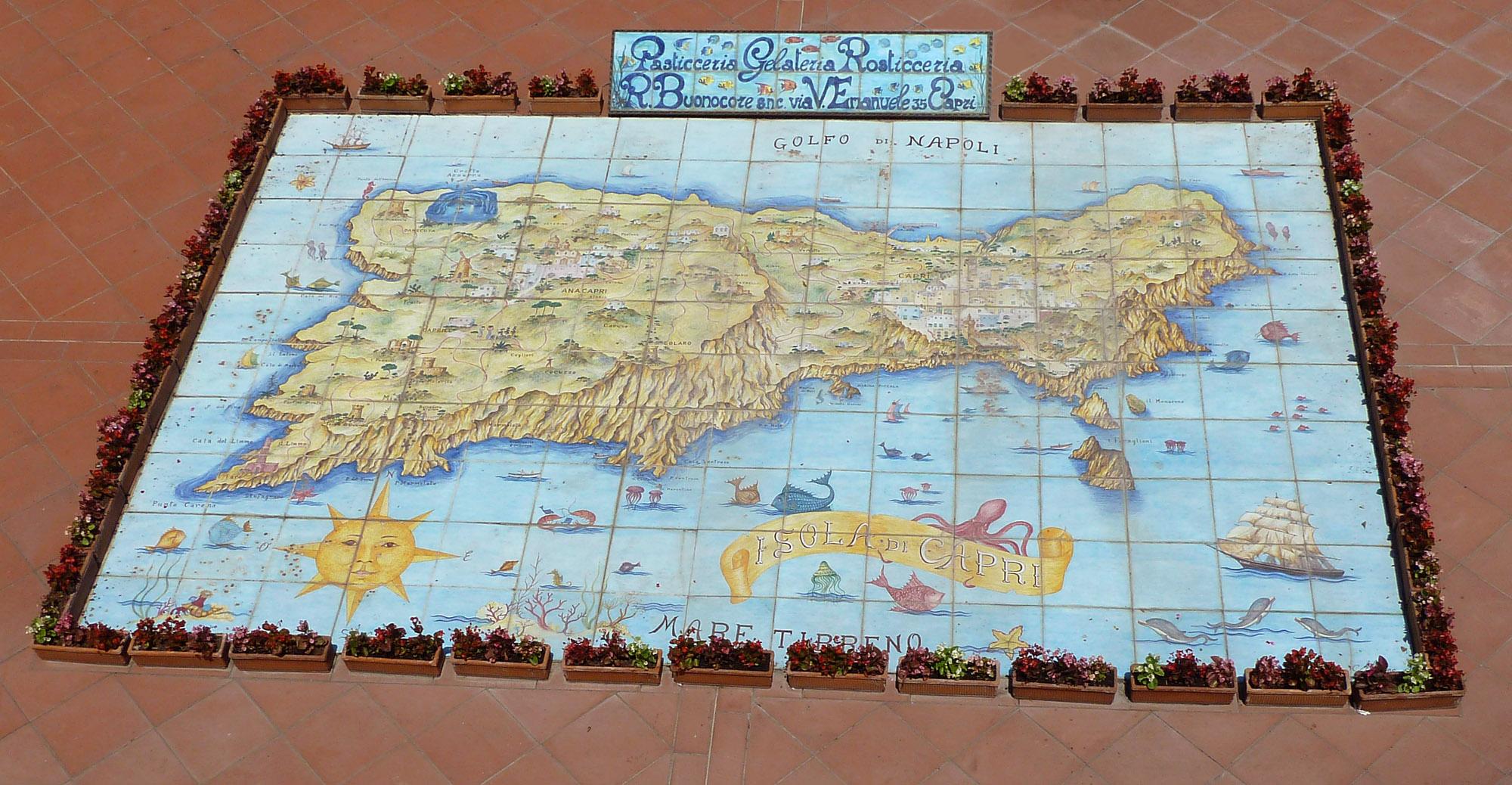 Tile Map Of Isle Of Capri Italy