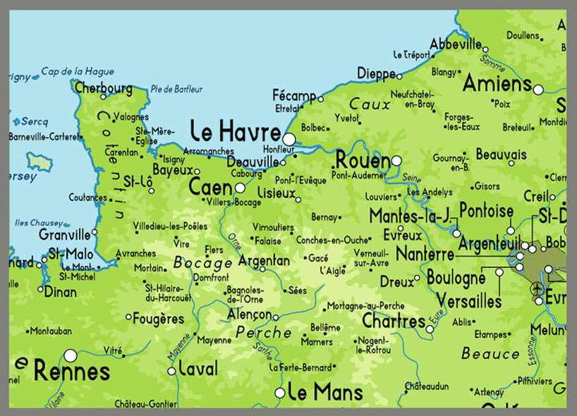 Map Of Normandy France Detailed.Where Is Normandy Beach France Map Travel Guide