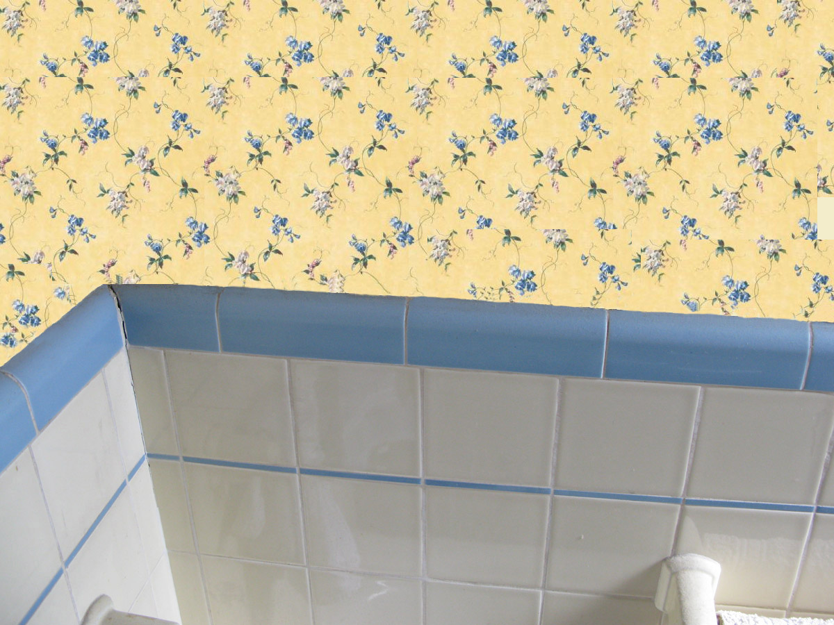 Bathroom color off white yello and gray for Yellow wallpaper home depot