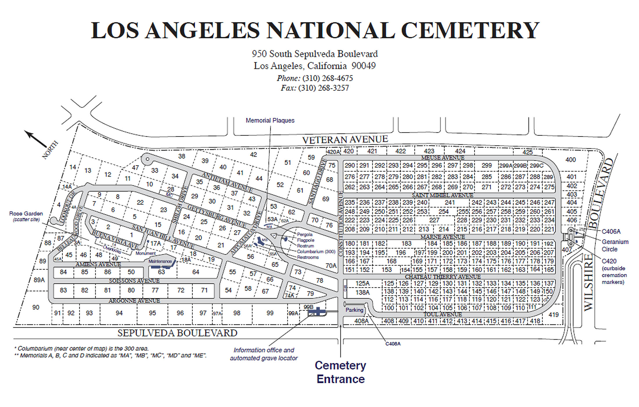 Los Angeles National Cemetery Plot Map And Photos - Los angeles map westwood
