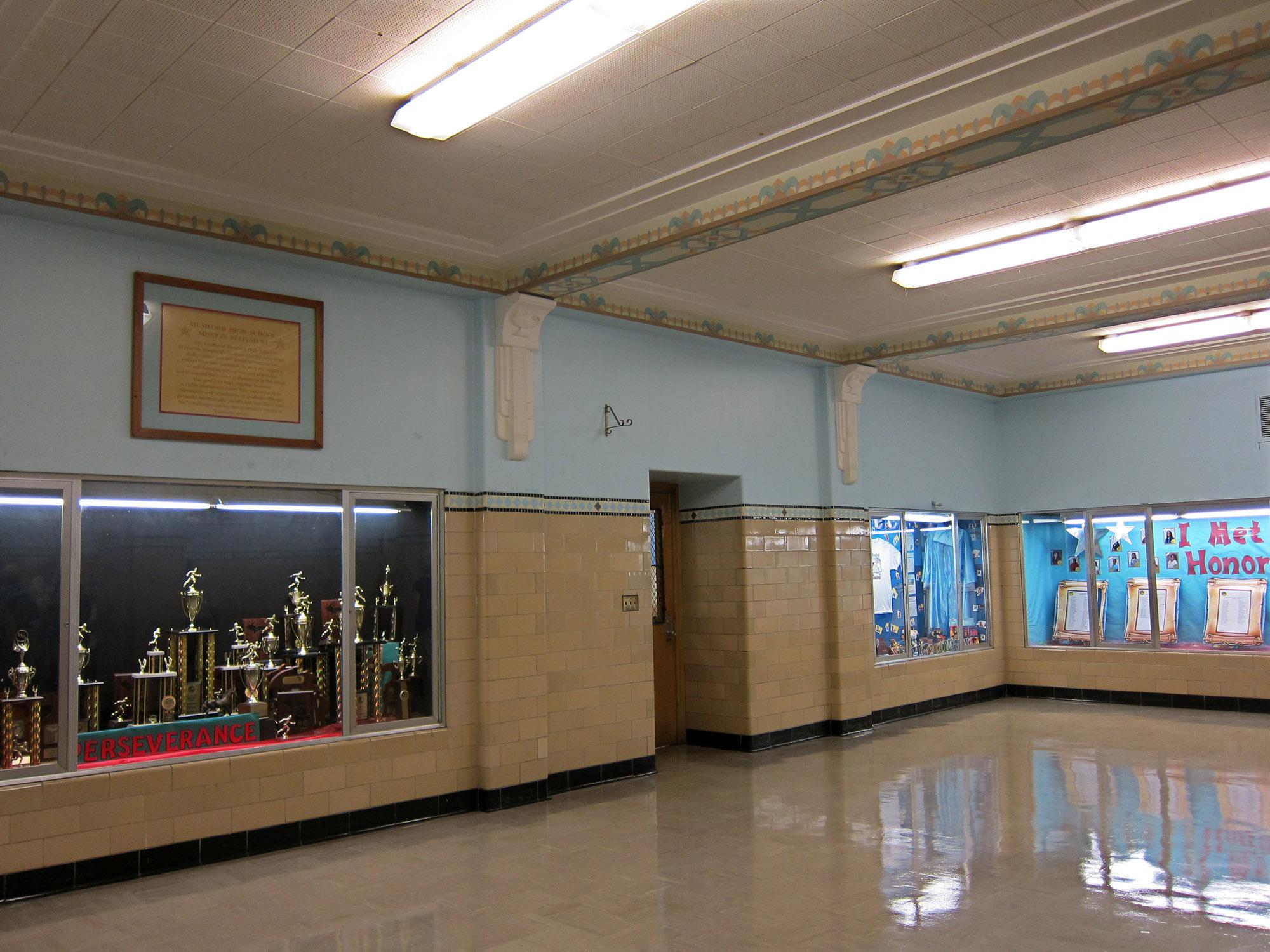 Mumford High School Trophy Case