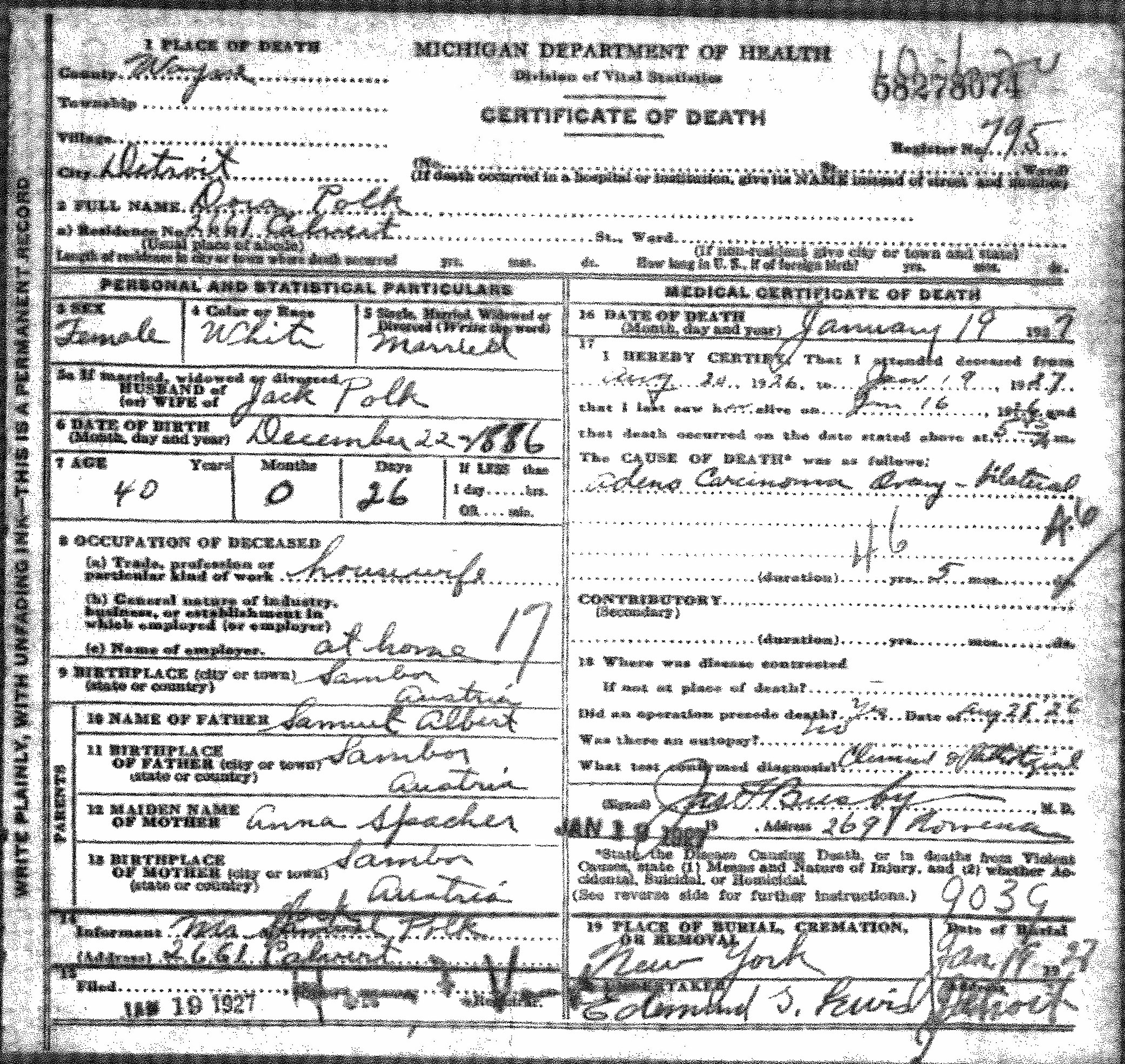 Dora albert vitals immigration records dora albert polk january 19 1927 michigan death certificate born dora dvore albert circa 1886 december 22 or 1887 in sambor galicia 1betcityfo Images