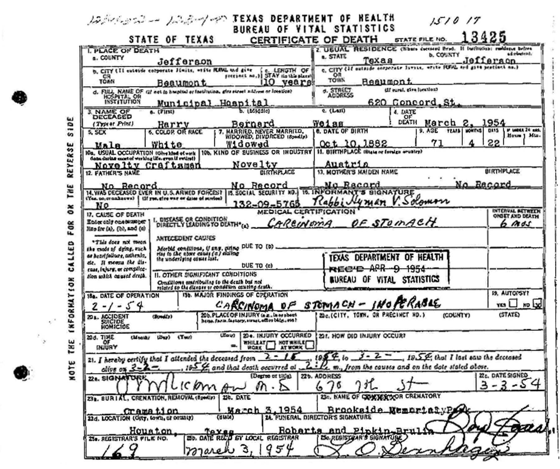 My maternal grandfather harry weiss birth date on death certificate aiddatafo Image collections